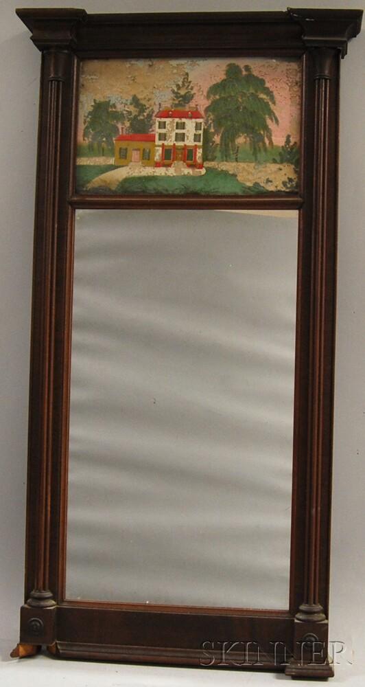Federal Mahogany Reverse-painted Mirror