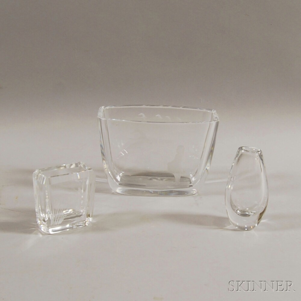 Three Etched Glass Vases