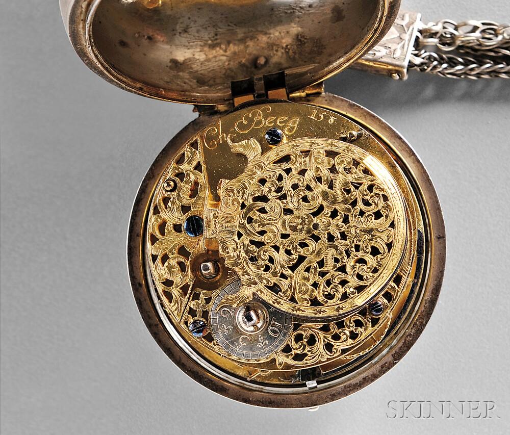 Silver Pair-cased Verge Pocket Watch