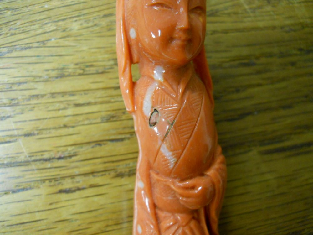 Carved Coral Figure of a Woman