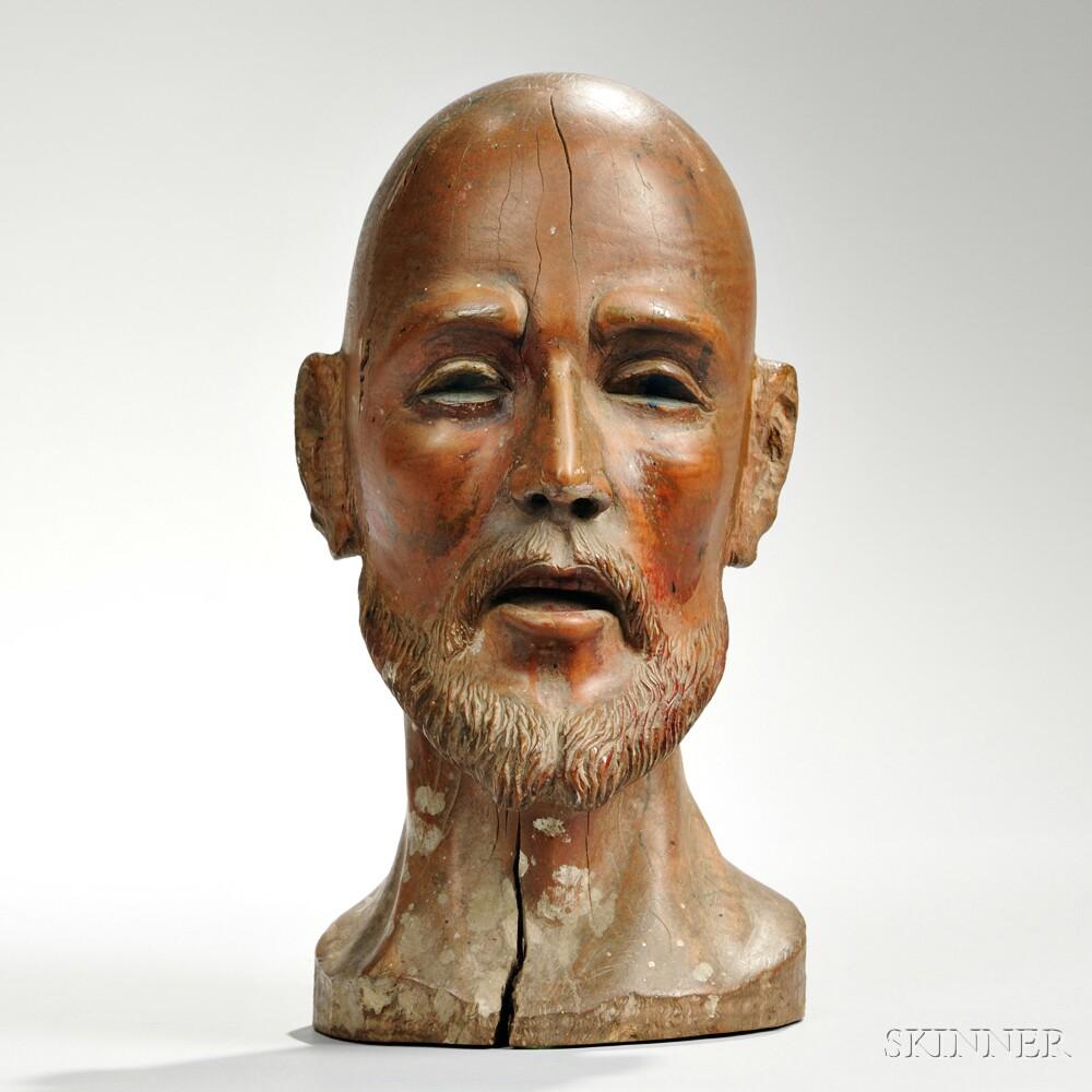 Carved Wood Bust of St. Ignatius Loyola
