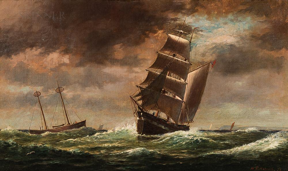 William Formby Halsall (American, 1841-1919)      Brigantine and Lightship off the Coast