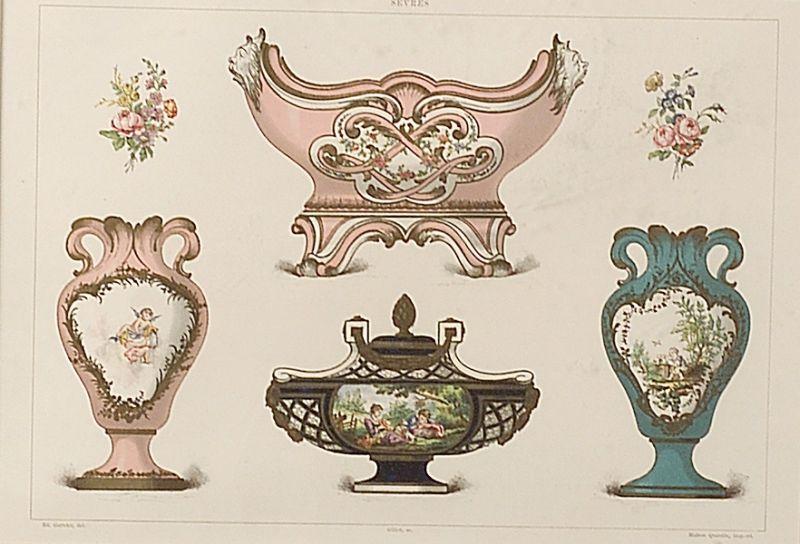 Eight Framed French Chromolithographs of Sevres Porcelain