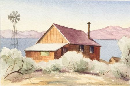 Lot of Two American Landscapes Including: Doris (Pat) Smith Reynolds (American, 20th Century), Western Cabin; Henry Orne Rider (America