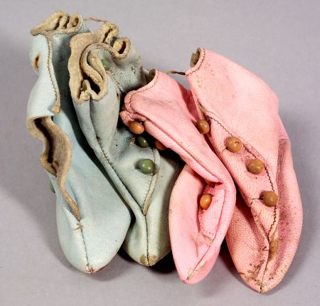 Two Pairs of High Button Heeled Doll Boots in Pink and Blue