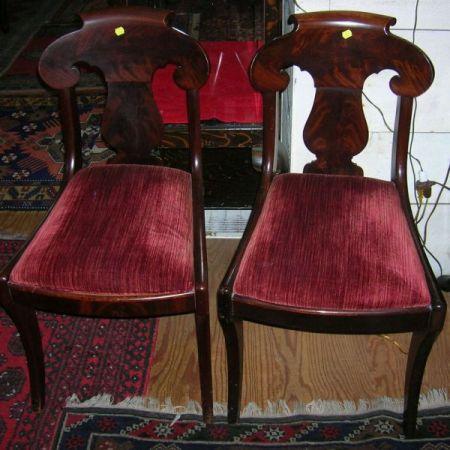 Set of Six Empire Mahogany and Mahogany Veneer Dining Chairs