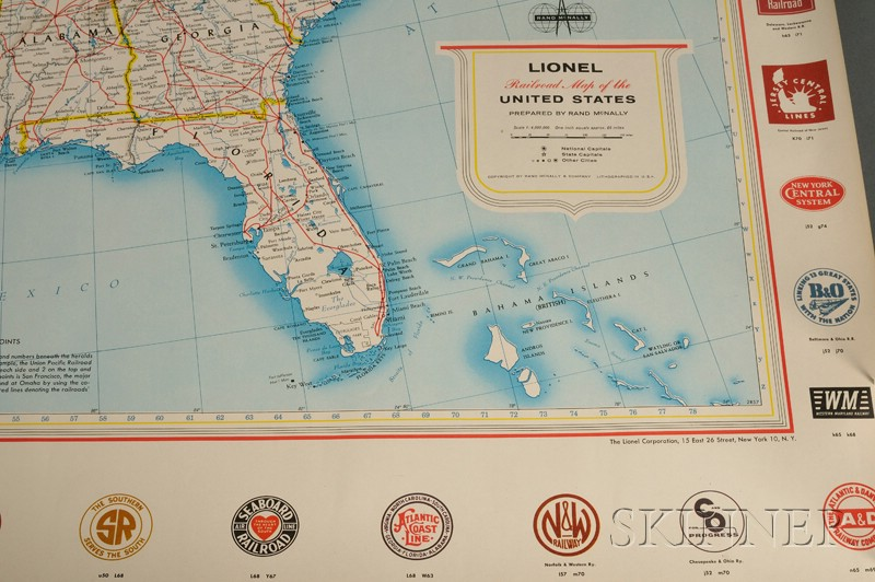 Lionel Railroad Map of the United States