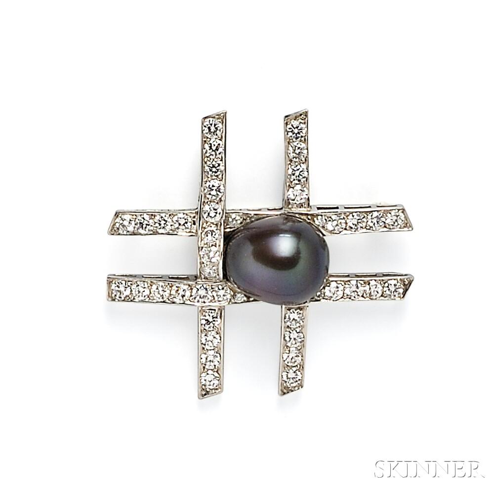 "Platinum, Tahitian Pearl, and Diamond ""Tic Tac Toe"" Brooch, Paloma Picasso, Tiffany"
