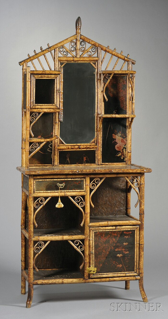 Victorian Bamboo and Lacquer Etagere Cabinet