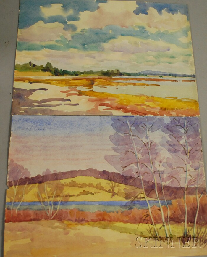 Charles Henry Richert (American, 1880-1974)      Lot of Two Unframed Watercolors:   Cadillac Mountain & Pemetic Mountain