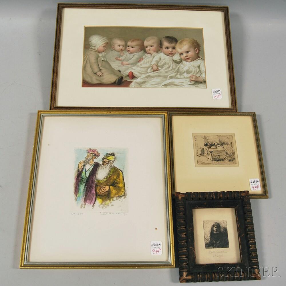 Four Framed Works:       Ira Moskowitz (Polish, 1912-2001), Conversation
