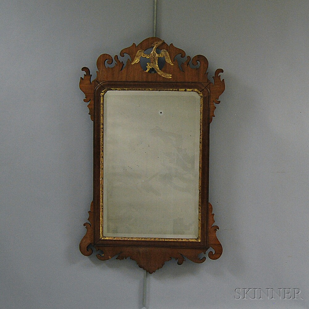 Chippendale Mahogany Veneer Carved and Parcel-gilt Scroll-frame Mirror