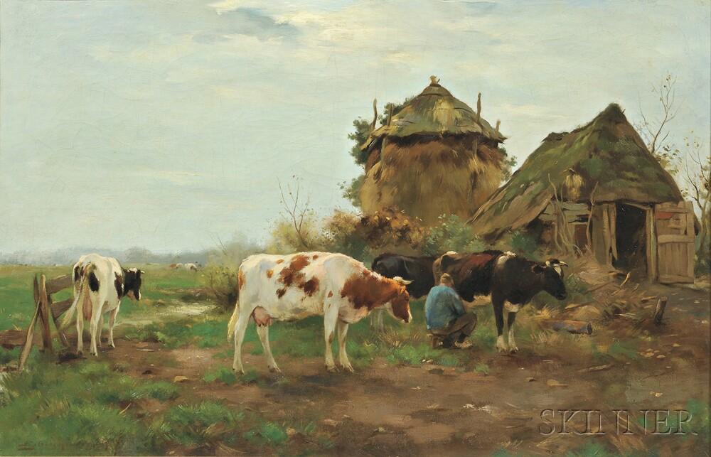 Adrianus Johannes Groenewegen (Dutch, 1874-1963)      Milking Time