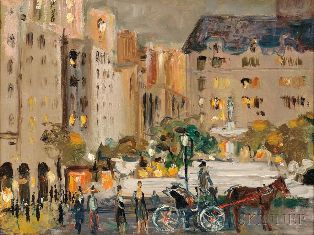 Vladimir Lebedev (Russian/American, 1910-1989)      New York City with Hackney Carriage