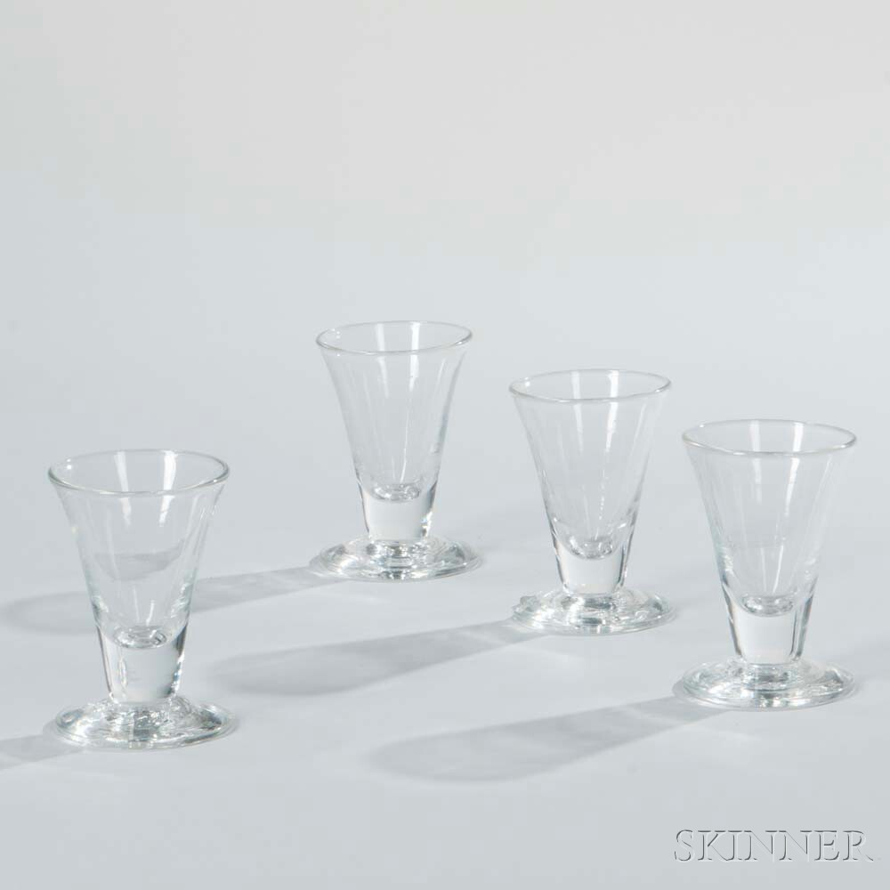 Four Colorless 18th Century-style Masonic Glasses
