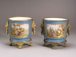 Pair of Gilt Metal Mounted Sevres-style Porcelain Cache Pots