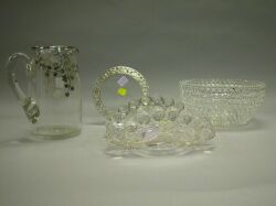 Cut Glass Bowl, Pressed Glass Tray and Two Silver Overlay Articles.