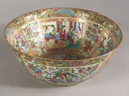 Chinese Export Porcelain Rose Medallion Punchbowl.