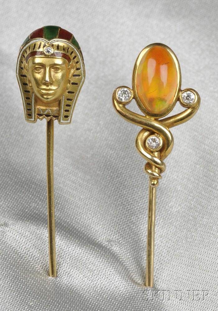 Two Antique 14kt Gold and Gem-set Stickpins