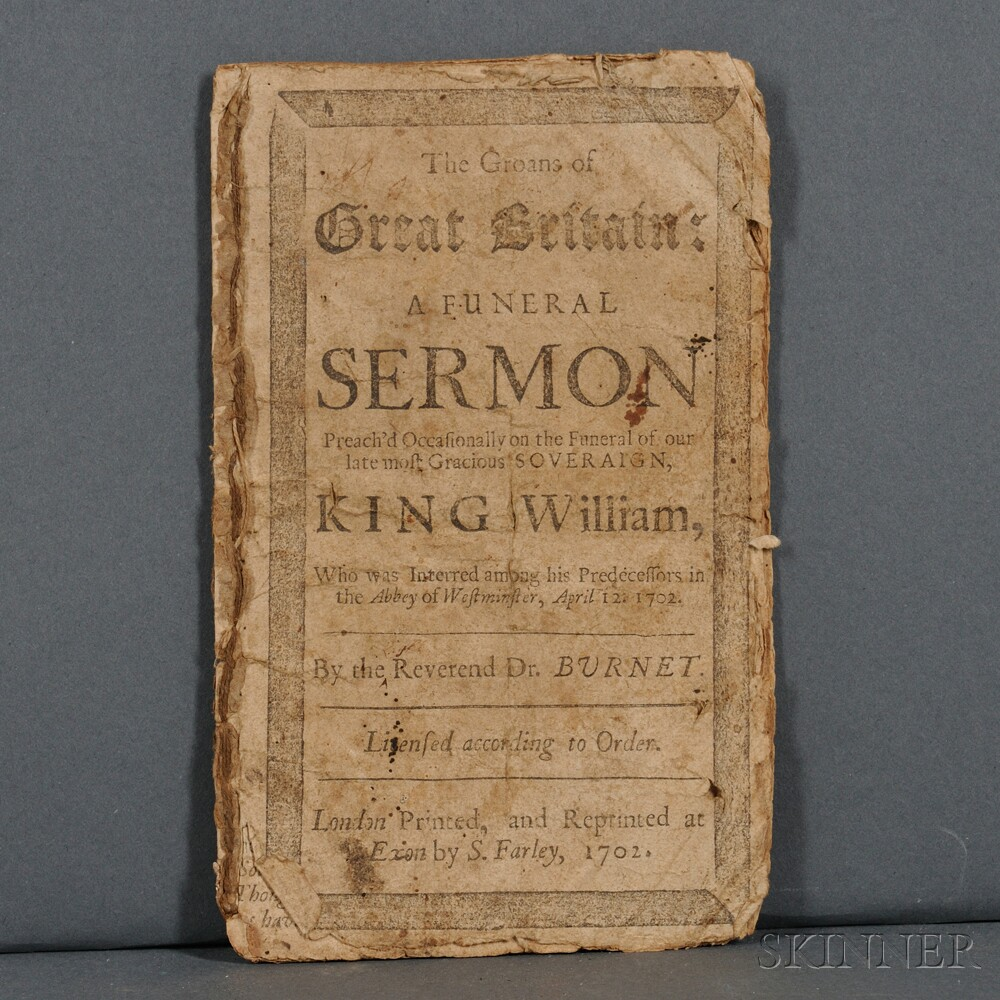 Burnet, Gilbert (1643-1715) The Groans of Great Britain: a Funeral Sermon Preachd Occasionally on the Funeral of our late most Graciou