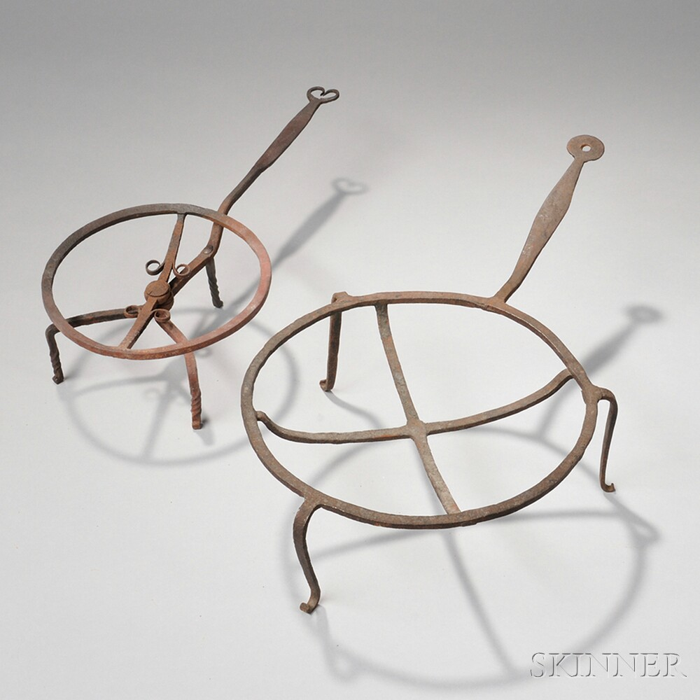 Wrought Iron Revolving Broiler and Concave Trivet