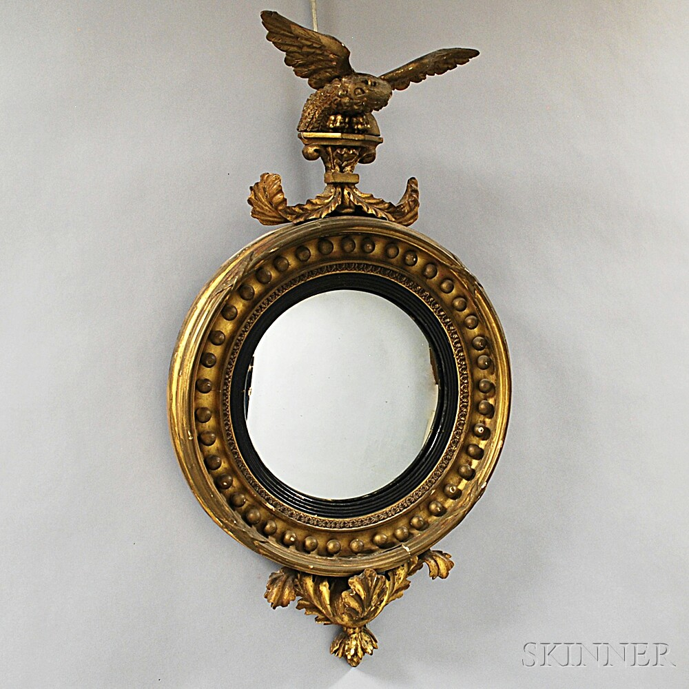 Federal-style Carved and Gilt Convex Mirror