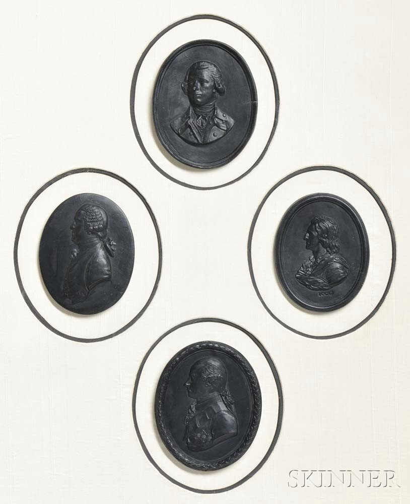 Four Framed Wedgwood Black Basalt Oval Portrait Plaques