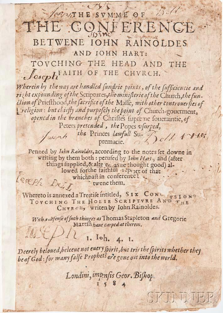 Rainolds, John (1549-1607) and John Hart (d. 1586) The Summe of the Conference betwene Iohn Rainoldes and Iohn Hart.