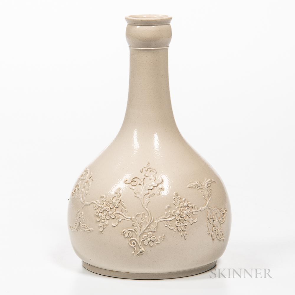 Staffordshire White Salt-glazed Stoneware Water Bottle
