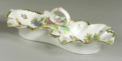 Herend Porcelain Viktoria Pattern Two-Part Serving Dish.