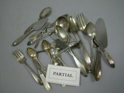 Partial Flatware Service in a Pointed Antique Pattern with other Articles.