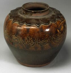 Chinese Decorated and Glazed Storage Jar.