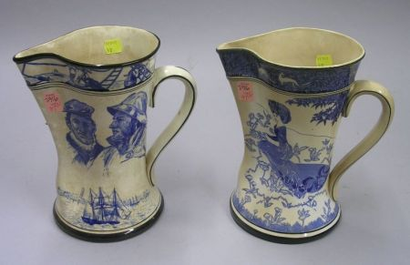 """1906 Buffalo Pottery Blue and White Sailor Decorated Pitcher and 1907 """"Gloriana""""   Pitcher"""