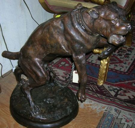 Modern Bronze of a Chained Mastiff