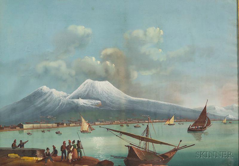 Italian School, 19th/20th Century      Naples with Vesuvius in the Distance.