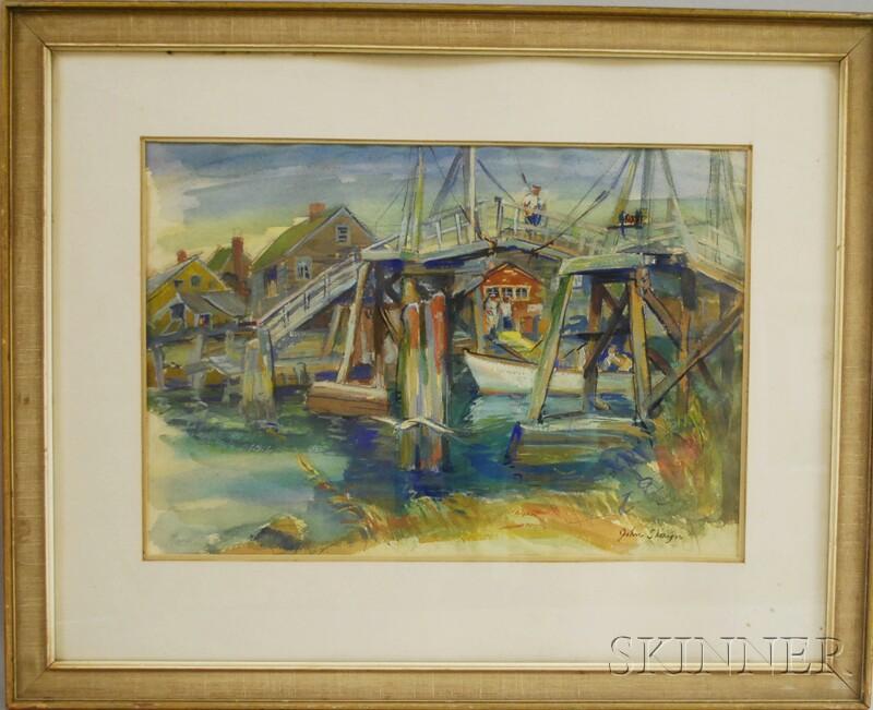 John Shayn (American, 1901-1977)      Man on Bridge, Ogunquit, ME.