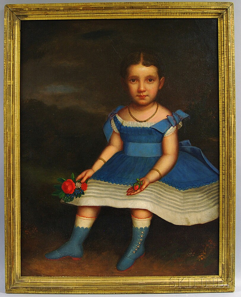 J. Platt (American, 19th Century)       Girl in a Blue Dress with Fruit and Flowers.