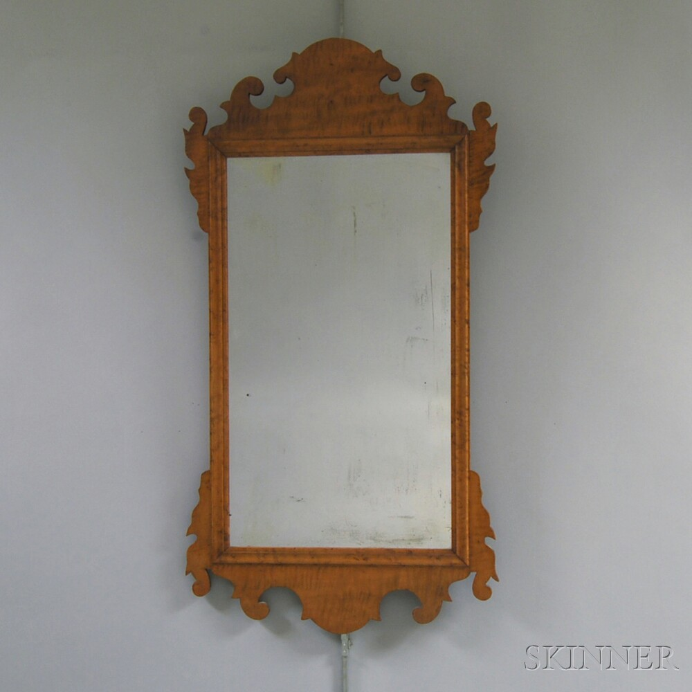 Chippendale Tiger Maple Scroll-frame Mirror