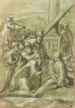 Manner of Girolamo Francesco Maria Mazzola, called Parmigianino (Italian, 1503-1540)  Adoration of the Magi