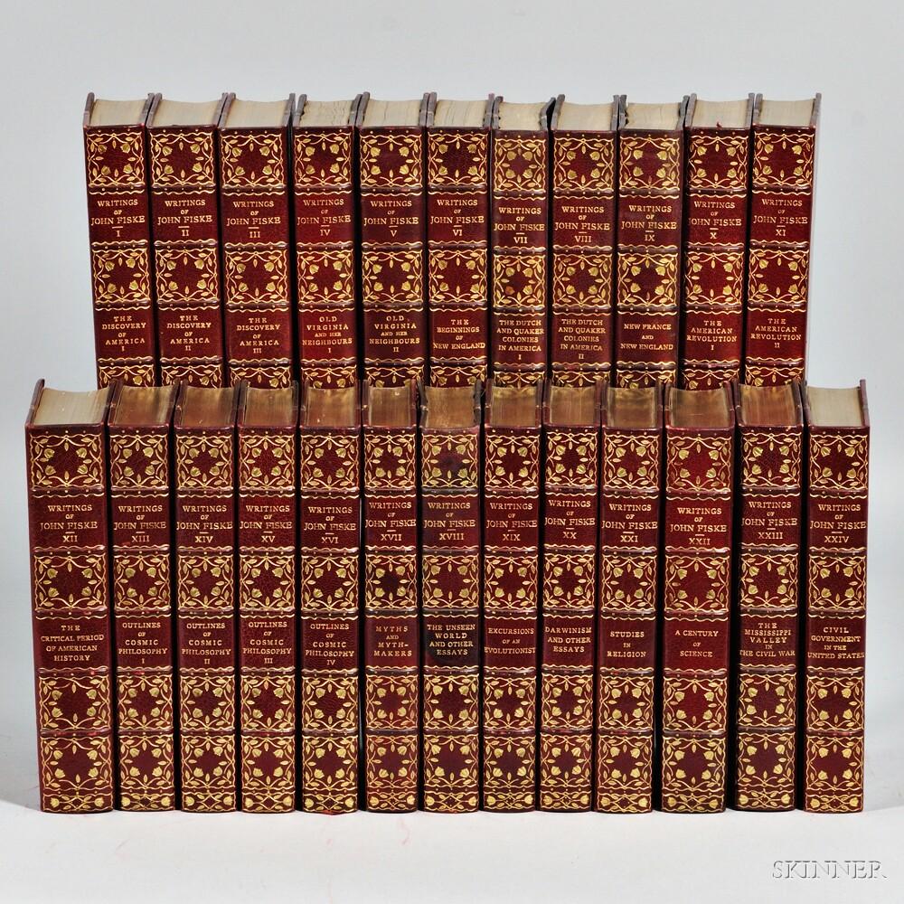 Decorative Bindings, Sets, Works of John Fiske in Twenty-four Volumes.