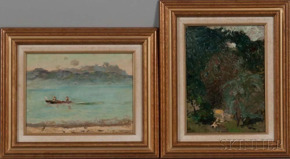 Vladimir Lebedev (Russian, 1910-1989)    Two Lake Scenes with Trees