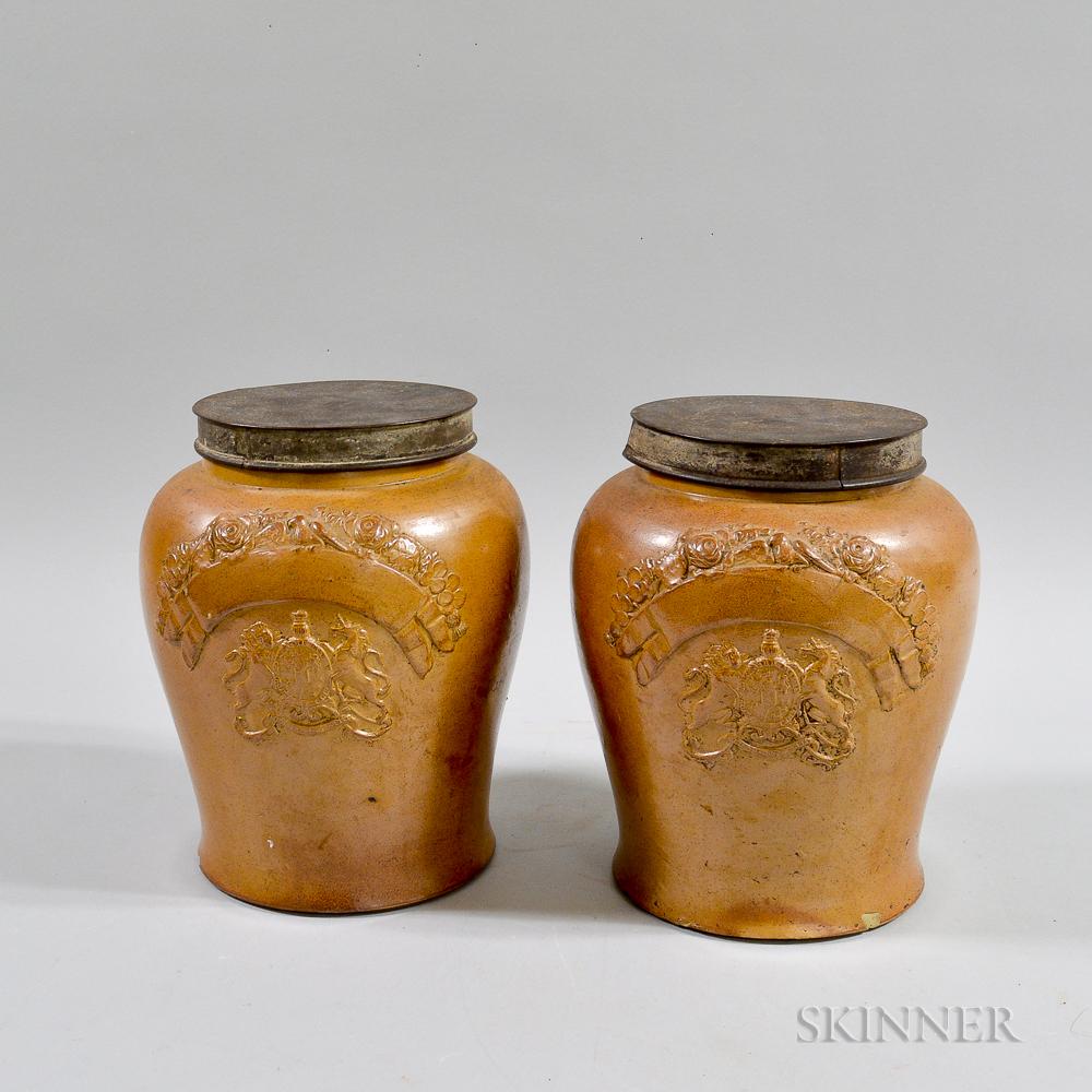Pair of Salt-glazed Jars with Tin Lids