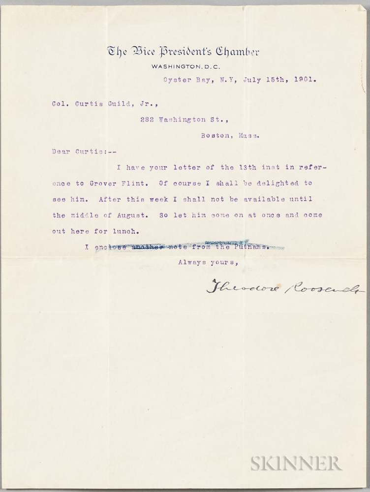 Roosevelt, Theodore (1858-1919) Typed Letter Signed, 15 July 1901.