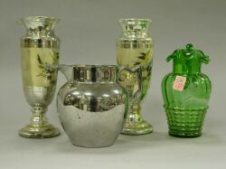 Silver Lustreware Pitcher, Victorian Enameled Green Glass Ptcher and a Pair of Mercury Glass Vases.