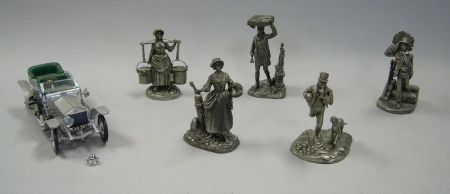 Five Franklin Mint Pewter Figures and a Metal Automobile.