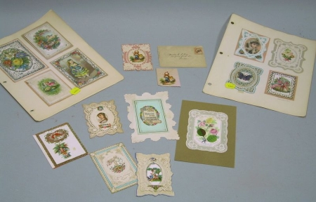Fifteen Assorted 19th Century Valentines and Other Cards