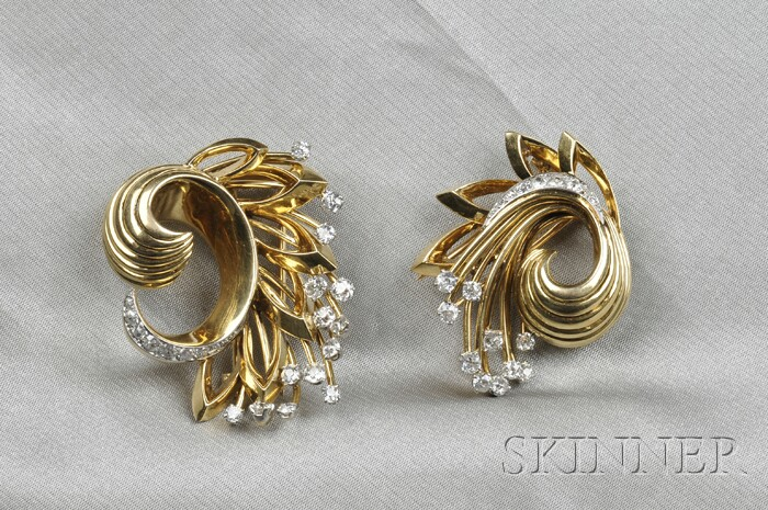 18kt Gold and Diamond Dress Clips, France