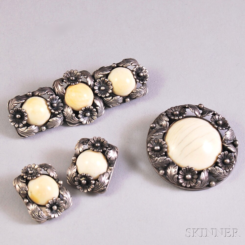 Niles E. From Sterling Silver and Bone Brooch, Clip, and Earclips