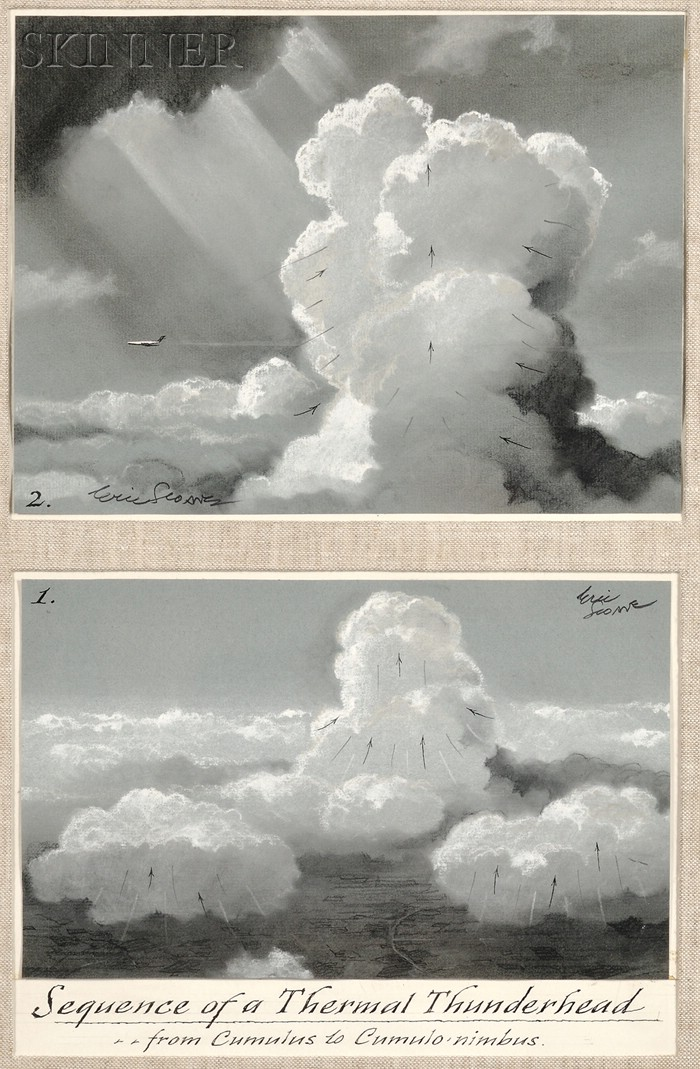 Eric Sloane (American, 1905-1985)      Sequence of a Thermal Thunderhead...from Cumulus to Cumulo-nimbus