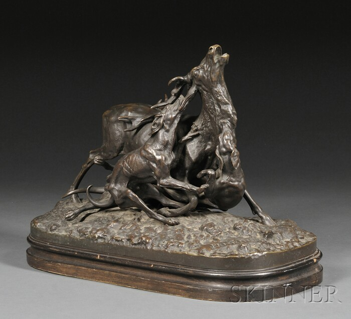Pierre Jules Mene (French, 1810-1879)      Bronze Figural Group Stag Attacked by Three Hounds